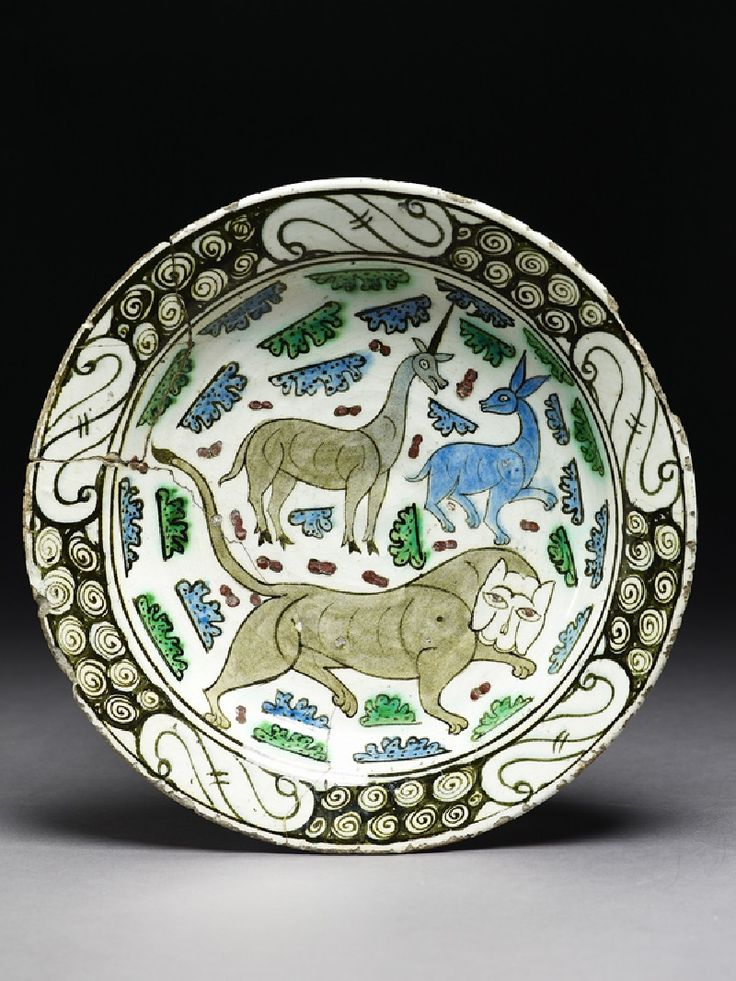 Dish with lion, unicorn, and stag Turkey, c. 1650        on display        Details      Further reading        Associated place              Asia › Turkey (place of creation)              Asia › Turkey › Marmara Bölgesi (Marmara) Region › Iznik (probable, place of creation)        Date          c. 1650,          Ottoman Period (1281 - 1924)	        Material and technique          fritware, with polychrome underglaze painting        Dimensions          6 cm (height), 30.7 cm (diameter), at…