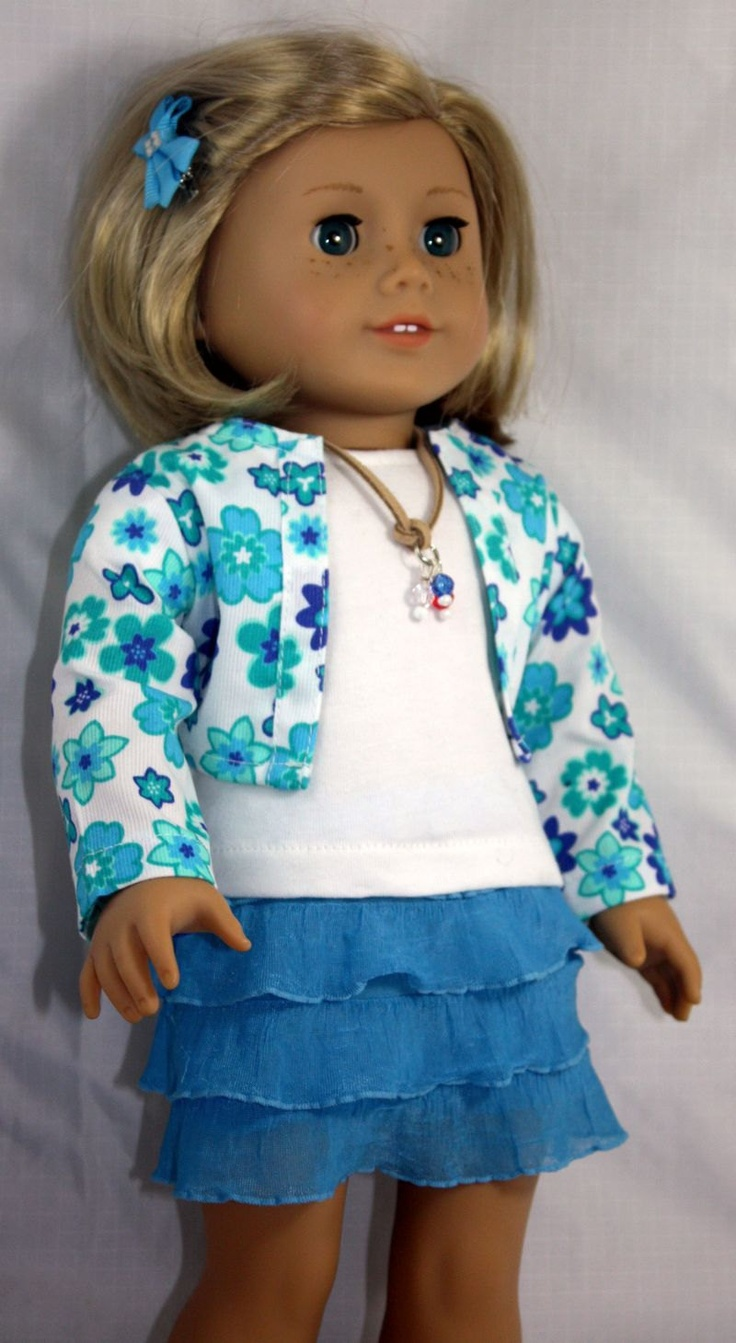Blue and White Skirt and Jacket Outfit. $22.00, via Etsy.