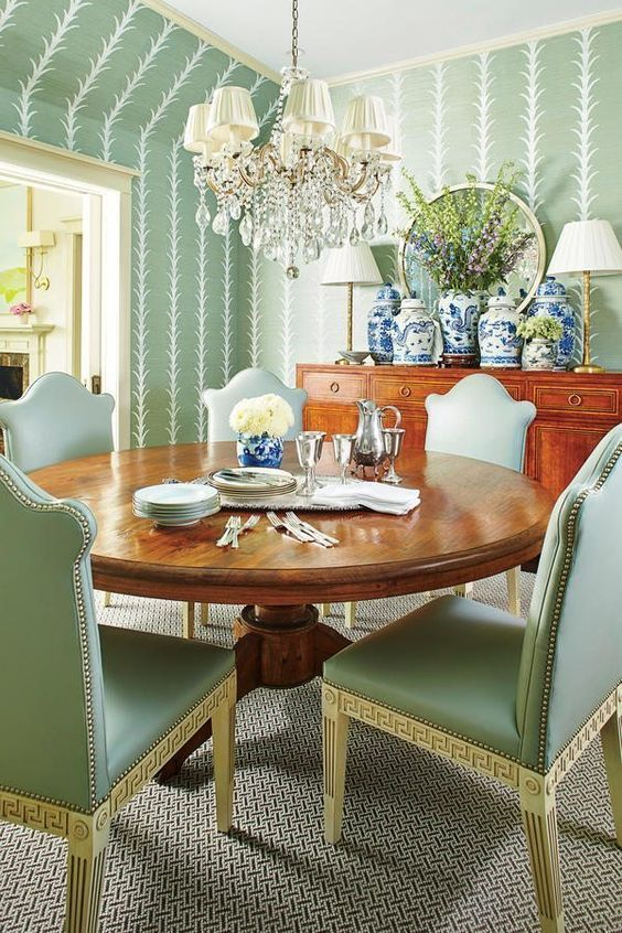 Amy Berry Southern Living A Wonderful Dining Room With So Many Favorites Round Table Green Palette Wallpaper Beautiful Chandelier
