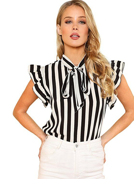 0ca3dc9016298 Floerns Women s Sleeveless Bow Tie Striped Summer Chiffon Blouse Top Black  and White M