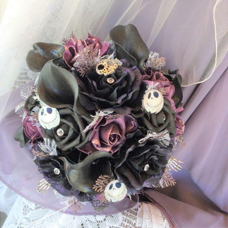 Gothic Tim Burton-Nightmare before Christmas-Gothic Wedding-Gothic Flowers in Black/Purple/Plum-Jack Skellington Wedding-Fantasy Wedding by ModernWeddingTrends on Etsy https://www.etsy.com/au/listing/465188802/gothic-tim-burton-nightmare-before