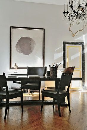 Christian Liagre - Dining room, with a dogwood and ash table by Liaigre, painting by Vincent Gassin