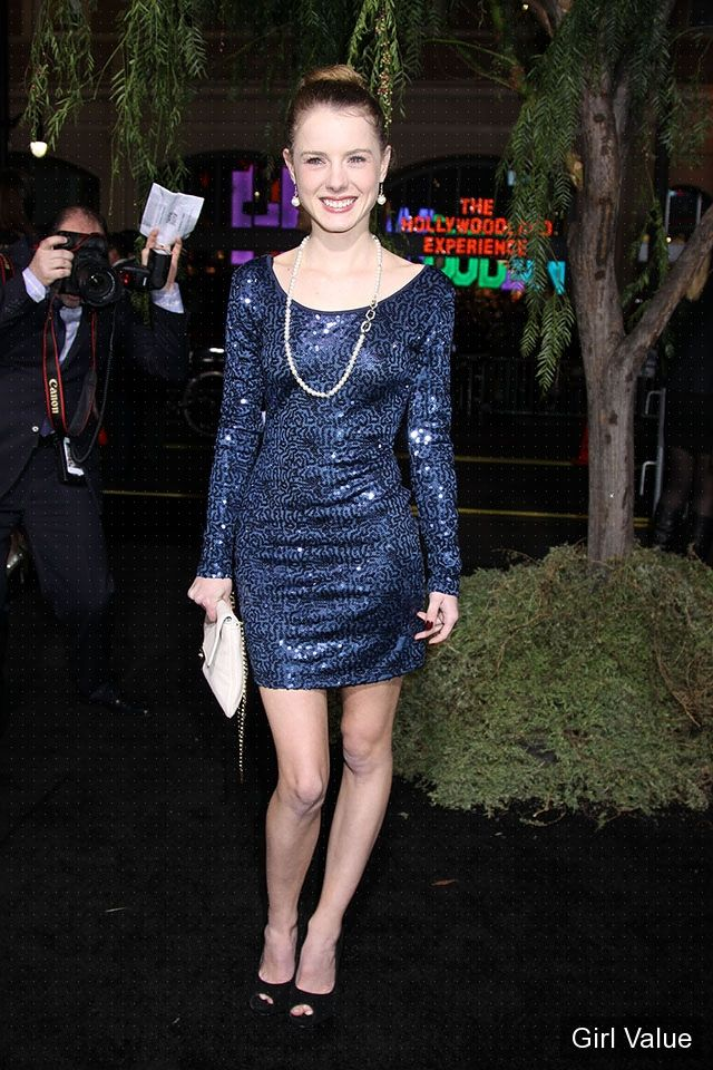 Laura Slade Wiggins in Blue Short Dress