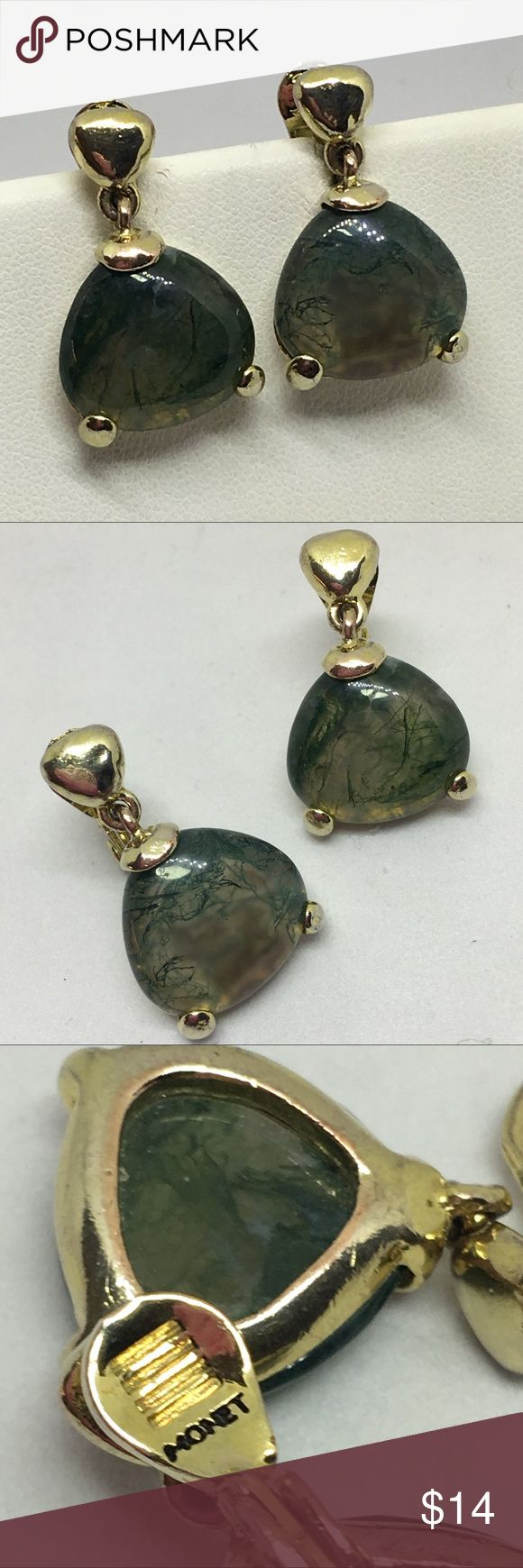 """Vintage Monet Gold & Moss Agate Clip Earrings Very Vintage Monet earrings, which can be told by the dark """"Monet"""" marking on the reverse of the earrings as shown. These are in gold and Genuine Moss Agate; beautiful and remarkable for a costume jewelry company to use genuine semi-precious stones! These are definitely a rare find and a must for any collector! In excellent vintage condition; some minor loss of plating but otherwise just lovely!! Vintage Jewelry Earrings"""