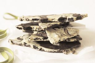 Chocolate Cookie Bark recipe- I omit the peanut butter and use mint oreos, so yummy!