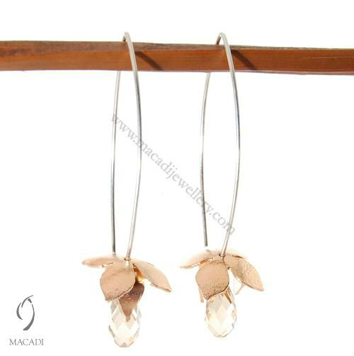 Rose Gold Lotus Earrings with Swarovski