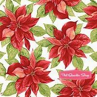 Songbird Christmas Cream Poinsettias Yardage <br/>SKU