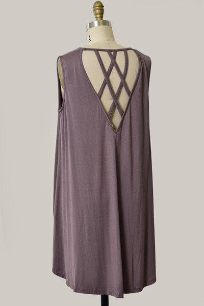 Sleeveless Tunic Top with Criss Cross Back // Different Color Options