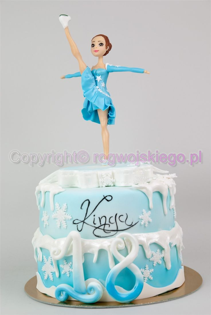 tort dla łyżwiarki, tort z łyżwiarką, torty na 18, tort na osiemnastkę,  http://rogwojskiego.pl