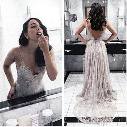 2016 Hot Backless Prom Dresses Gray Prom Dress Open Back Formal Gown Open Backs Prom Dresses Grey Evening Gowns Lace Formal Gown Spaghetti Straps Formal For Senior Teens