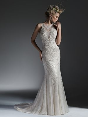 Maggie Sottero - Illusion Sheath Gown in Chiffon