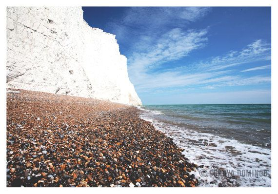 Seven Sisters Whitecliffs Stone Beach Sea by SurayaDomingo on Etsy, £19.95