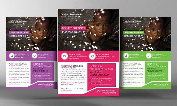 Charity Donation Flyer Template by Business Templates on @creativemarket