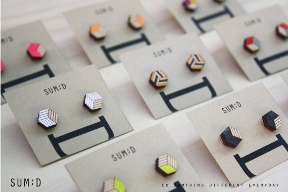Handmade Square Shape Wood Earring by sumdstore