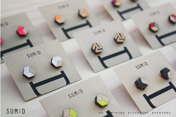 Handmade Square Shape Wood Earring by sumdstore