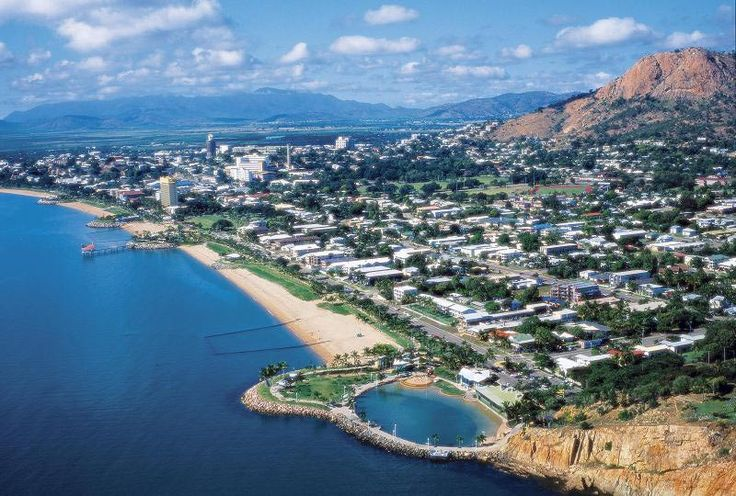 Townsville North Queensland | Aerial view of Townsville ... south over The Strand to Castle Hill