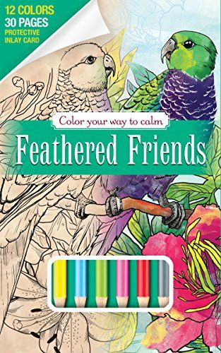 Feather Friends Bird Adult Coloring Book Set With 12 Colo