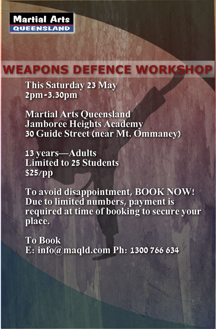 #WeaponsDefence Workshop happening on May 23rd, Saturday at MAQLD! Only 25 slots to be filled! Hurry up and book now!