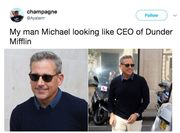 """My man Michael looking like CEO of Dunder Mifflin."""
