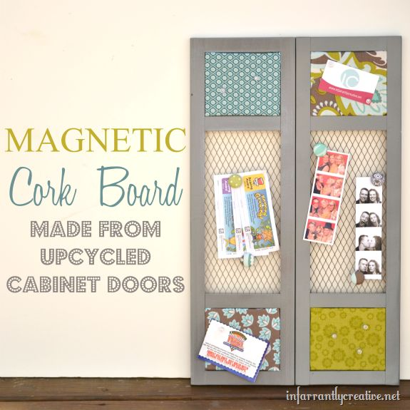 :: Recycled cabinet door turned into a magnetic fabric cork board ::Diy Corkboard, Infarrantly Creative, Recycle Cabinets, Doors Turn, Corks Boards, Corkboard Ideas, Fabrics Corks, Magnets Corks, Cabinets Doors