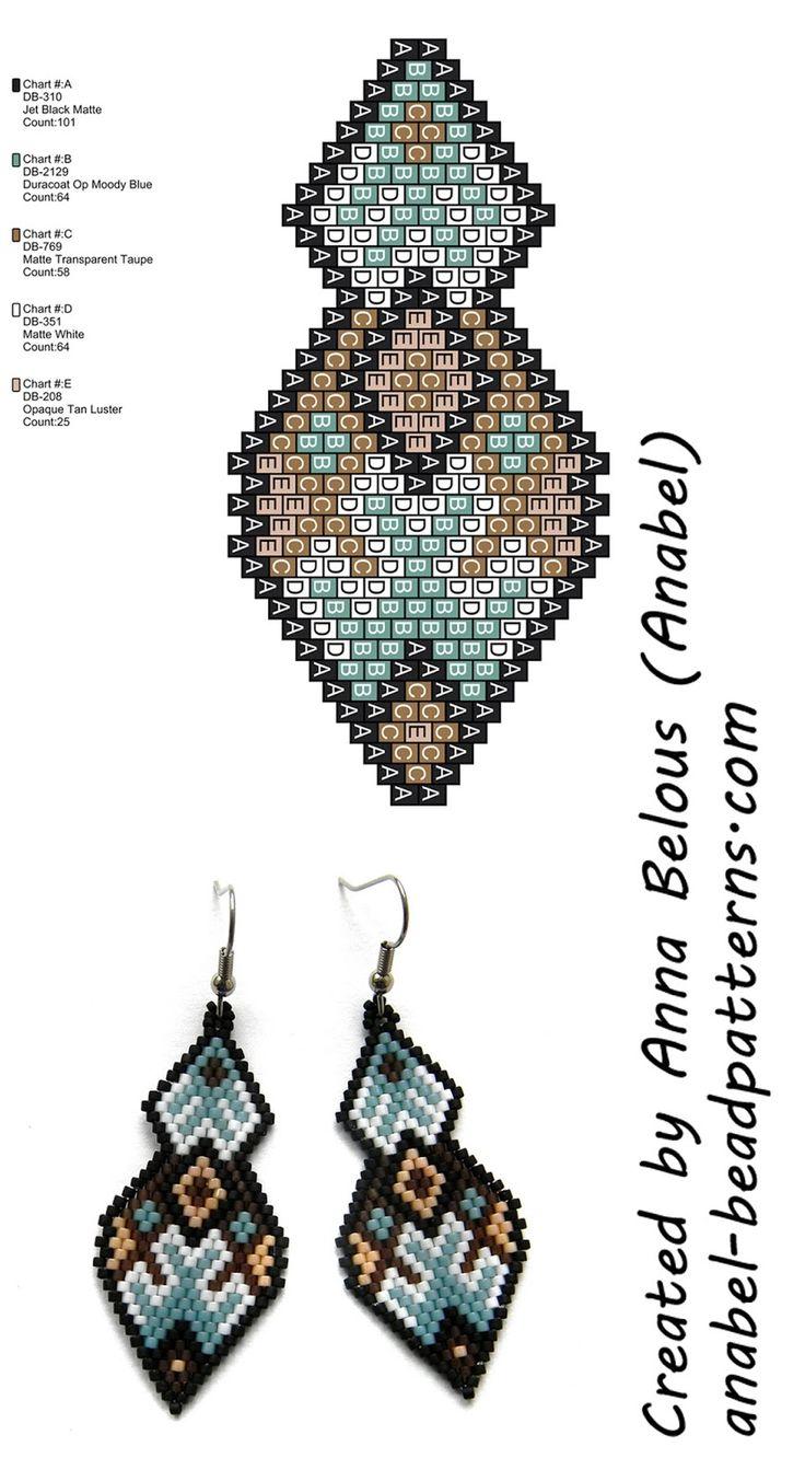 Схема серег из бисера - brick / peyote stitch earrings pattern