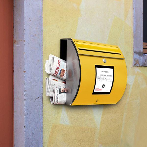 Besonderer Edelstahl Briefkasten 'Briefk. Gelb' von banjado auf DaWanda.com