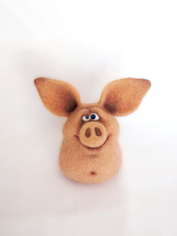 Needle Felted Toy Funny Pig Felt Toys Gift under 40 by VladaHom, $39.90