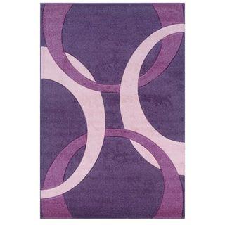 Linon Corfu Collection Purple/ Baby Pink Area Rug (5u0027 X ...