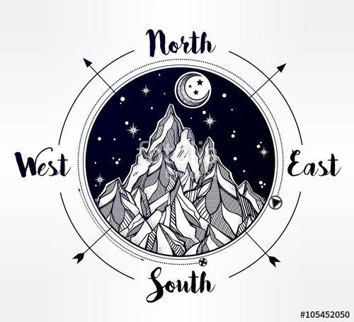Vector:  Mountain wind rose vector illustration.