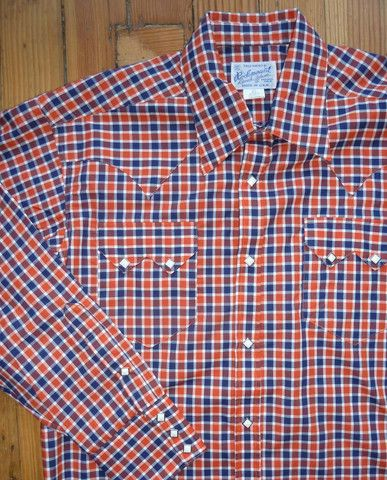 Rockmount Red & Blue Plaid/Checked Western Cowboy Shirt