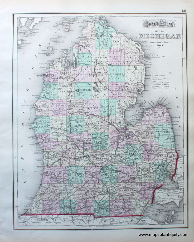 Antique Hand Colored Map of Michigan by