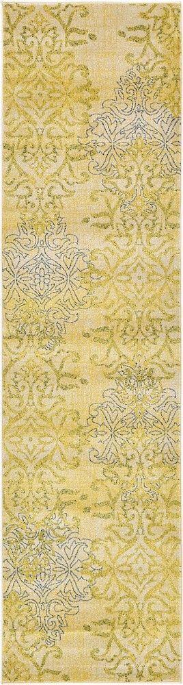 Damask Yellow Area Rug