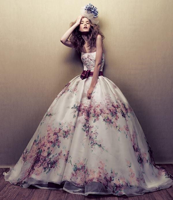 Fl Print Lace Wedding Dress From Novias De Espana