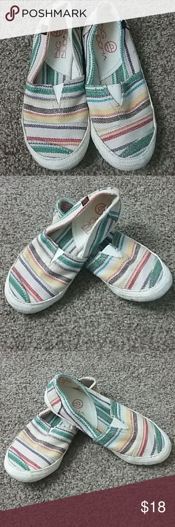 Big Buddah slip on loafers women's size 7.5 Big Buddah Multi colored slip on loafers Women's size 7.5 . Excellent preowned condition. Big Buddha Shoes Flats & Loafers