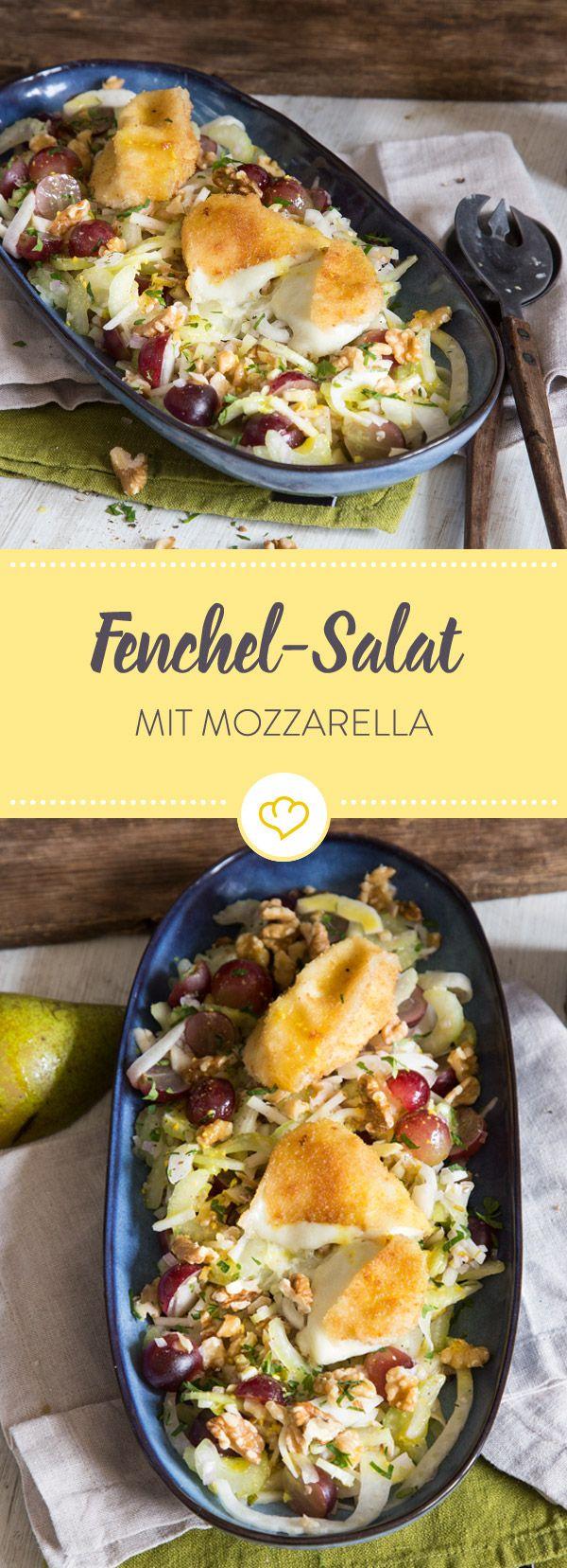 Einmal die knusprige Hülle aufgeschnitten, läuft dir der milde Mozzarella bereits entgegen und mischt sich unter deinen Salat aus Fenchel und Sellerie.