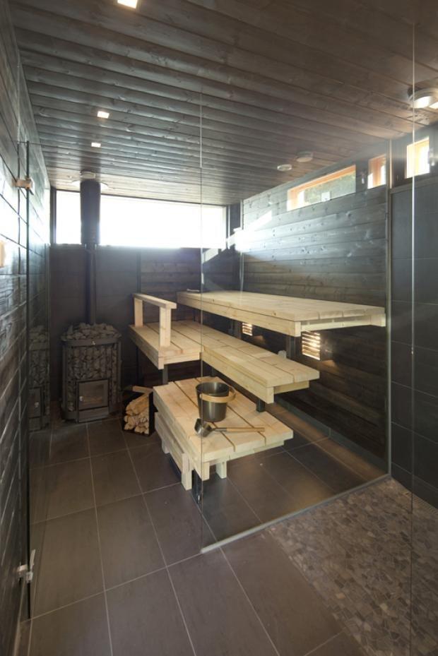 brown finnish sauna