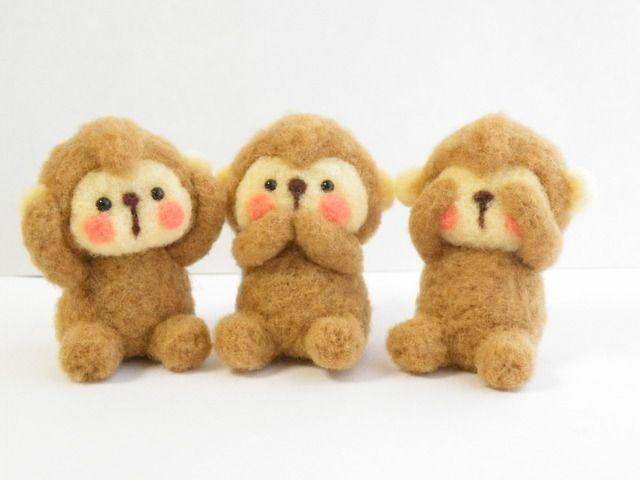 ハンドメイドマーケット minne(ミンネ)| お正月飾り 三猿 羊毛フェルト