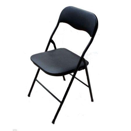 Silla Fold $6.000 + IVA  Silla plegable de metal con asiento y respaldo de vinilo.  Ancho: 44 cm Largo: 49 cm Altura: 79 cm Altura asiento: 42,5 cm Material: Metal y vinilo  Código Producto: ASC-004
