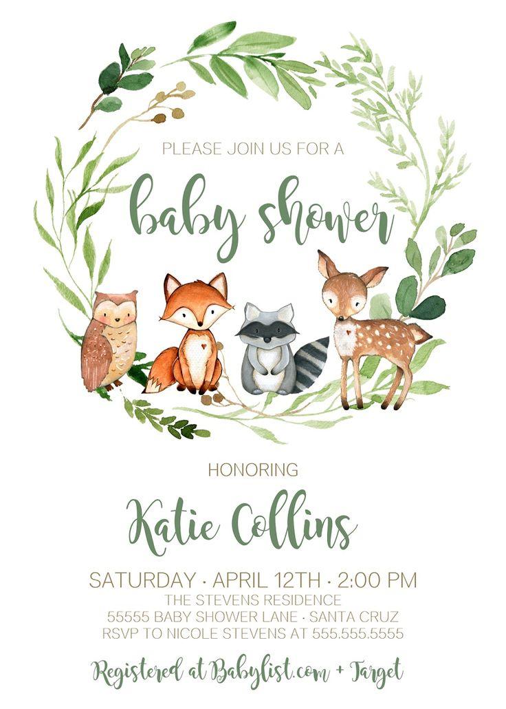 Woodland Baby Shower Theme Boy, Gender Neutral, Woodland animals Baby Shower Invitations, Edit today!