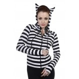 LADIES CLOTHING : LADIES HOODIE | Striped Cat [Black/White]