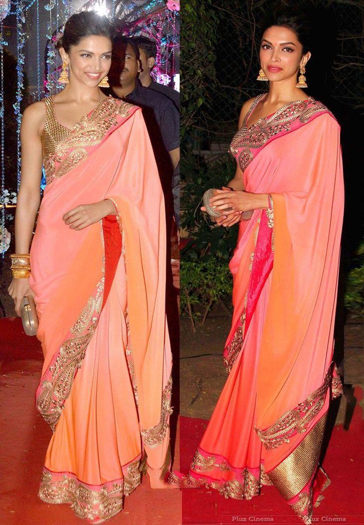 Rcpc #DeepikaPadukone Designer Orange #Saree - Buy Rcpc Women Bollywood Sarees Online | RC140WA58ZGVINDFAS