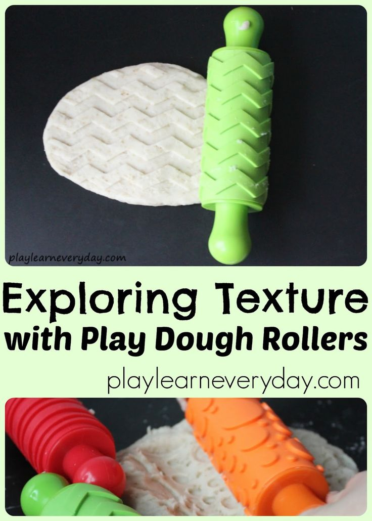A fun and simple way to play with playdough, exploring textures and patterns using rolling pins and working on fine motor skills.