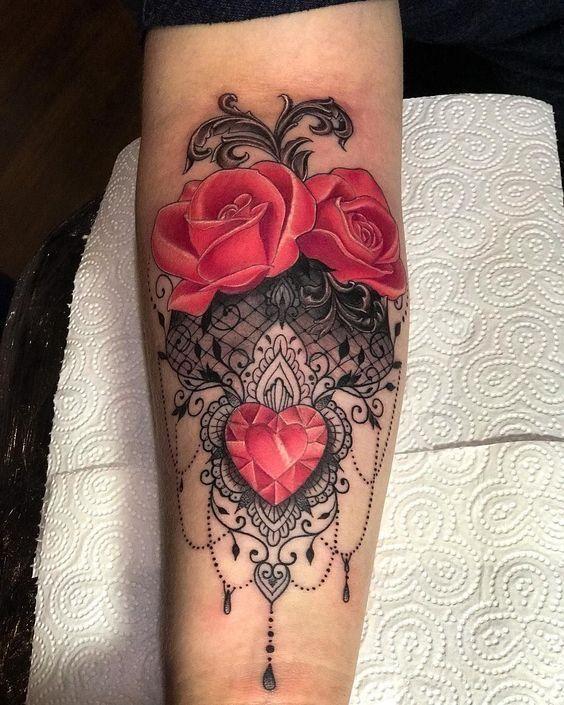 a28b25284420f Beautiful Rose Tattoos, Skull Tattoos, Lace Thigh Tattoos, Diamond Tattoos,  Makeup Tattoos