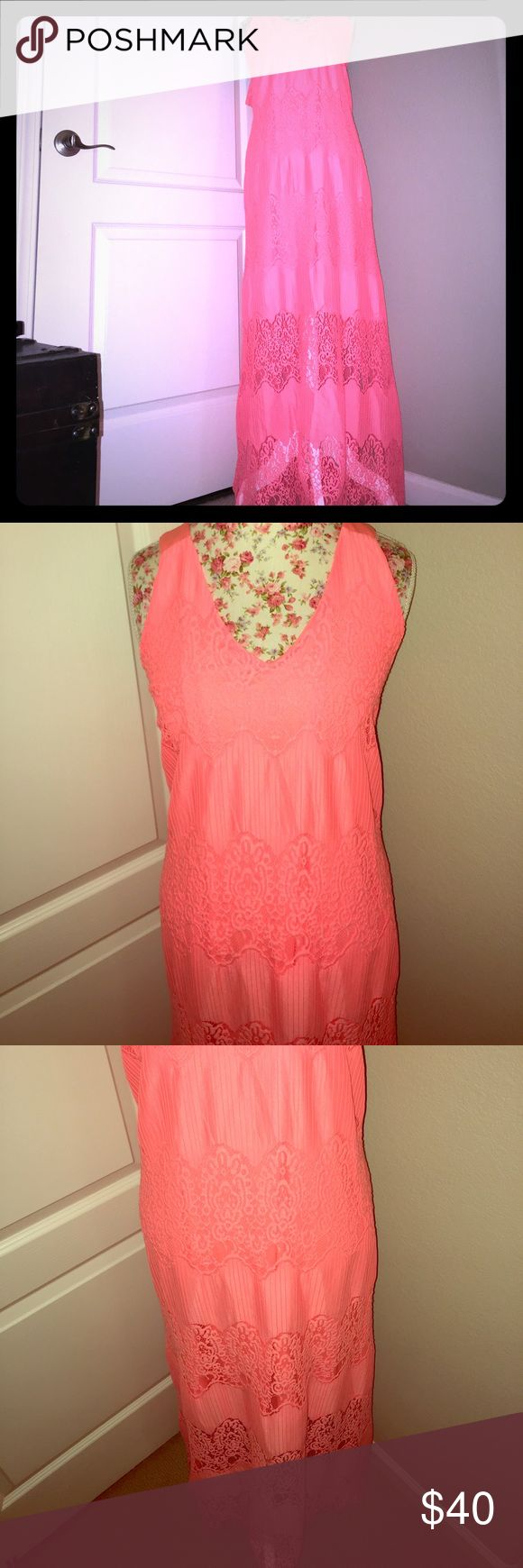 Coral Lace Maxi Dress This coral and lace maxi dress is new without tags. It is truly a beautiful summer frock that can be worn with wedges or sandals. Lane Bryant Dresses