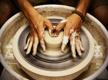 The early stages of throwing clay is a slow patient process.  I also like that the clay remembers everything. This act is similar to the way God approaches me because I'm so wary of Him.  And so he doesn't treat me as my sins deserve.