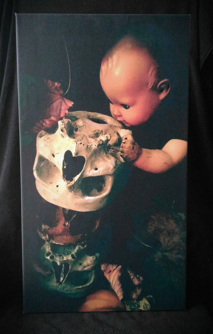 painting oddities acrylic printed canvas creepy goth gothic wunderkammer skull victoriangoth victoriangothic dipinto oddities  skull doll di studyartantique su Etsy