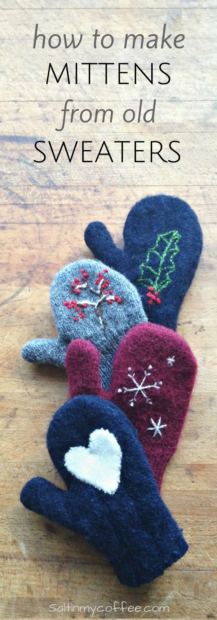 FREE PATTERNS in all sizes! How to make mittens from old sweaters. It's SO easy, and takes less than 20 minutes to make a warm new pair of mittens from an old sweater!