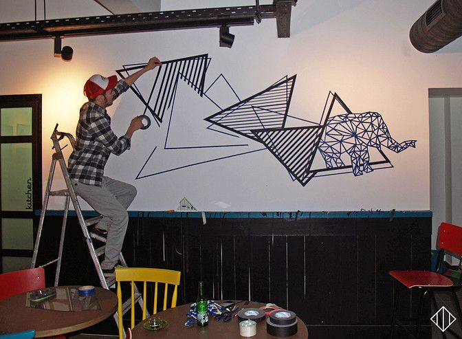 Tape wall art @ Elephadas Cafe-bar    Had super fun in this project,working for some beautiful people.