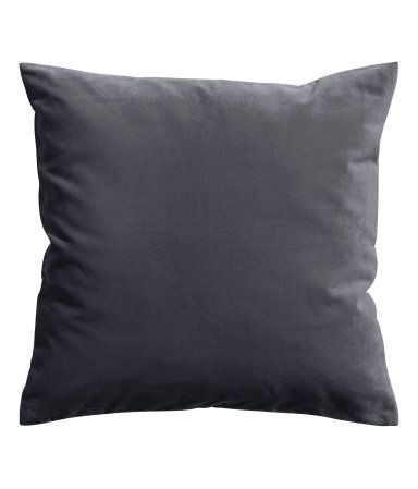 Charcoal gray. Cushion cover in cotton velvet with concealed zip.