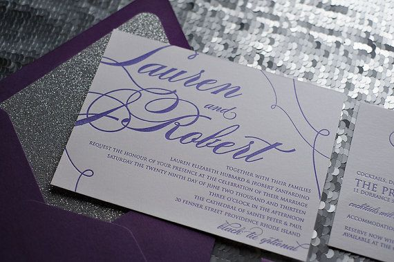 Metallic Calligraphy Letterpress Invitation Suite  by JustInviteMe